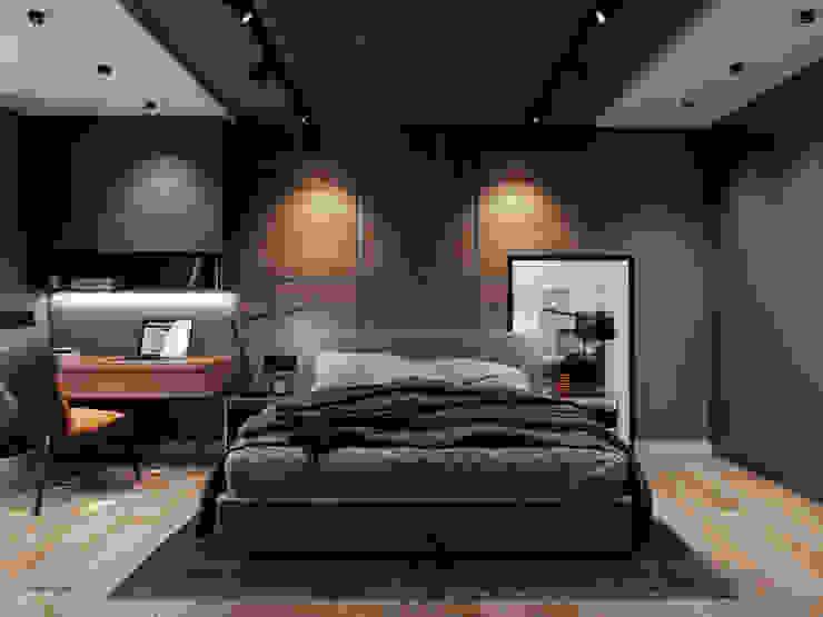 Chambre minimaliste par Творческая мастерская Твердый Знак Minimaliste