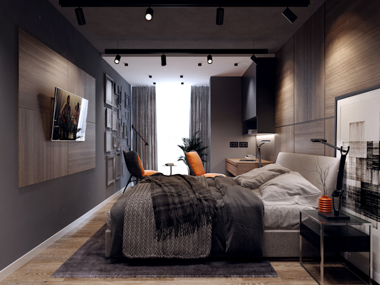 Phòng ngủ theo Творческая мастерская Твердый Знак, Tối giản
