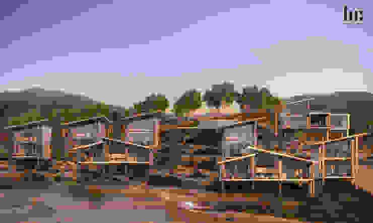 Vista General HC Arquitecto Hoteles de estilo minimalista Metal Marrón