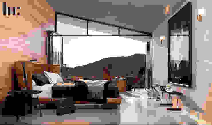 Cabaña doble - Interior HC Arquitecto Hoteles de estilo minimalista Hierro/Acero Gris