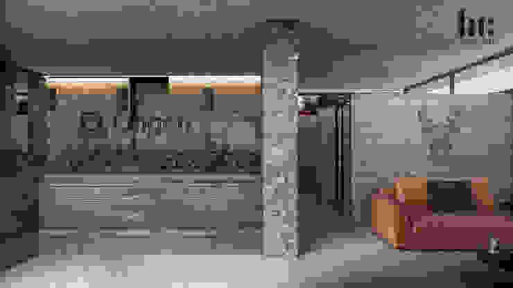Recepción - Interior HC Arquitecto Hoteles de estilo minimalista Concreto Gris