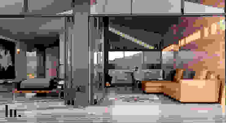 Cabala Doble - Interior HC Arquitecto Hoteles de estilo minimalista Hierro/Acero