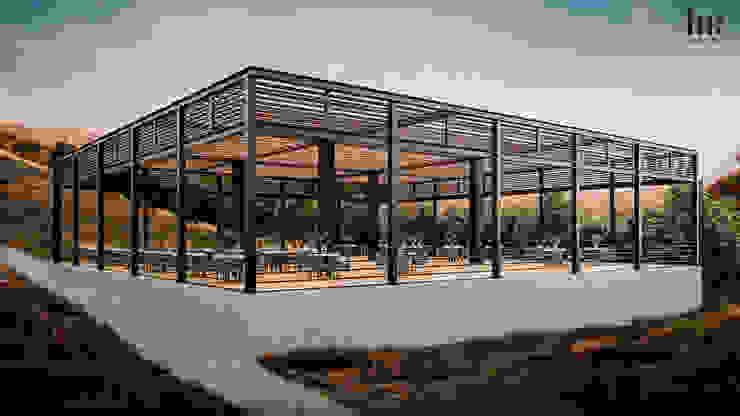 Terraza para eventos HC Arquitecto Locaciones para eventos de estilo minimalista Hierro/Acero
