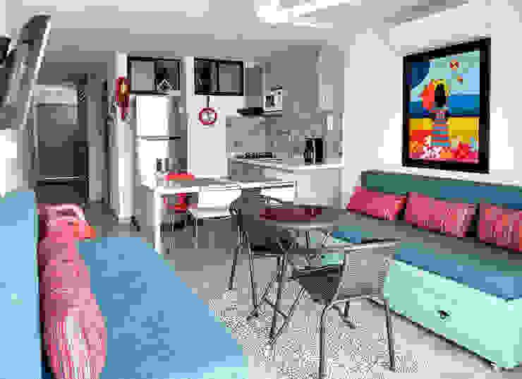 Vista panorámica del apartamento Comedores modernos de Remodelar Proyectos Integrales Moderno Cerámico