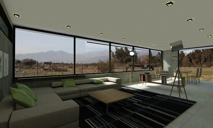 LIVING CORDILLERA Livings de estilo moderno de Vetas Sur Moderno Concreto