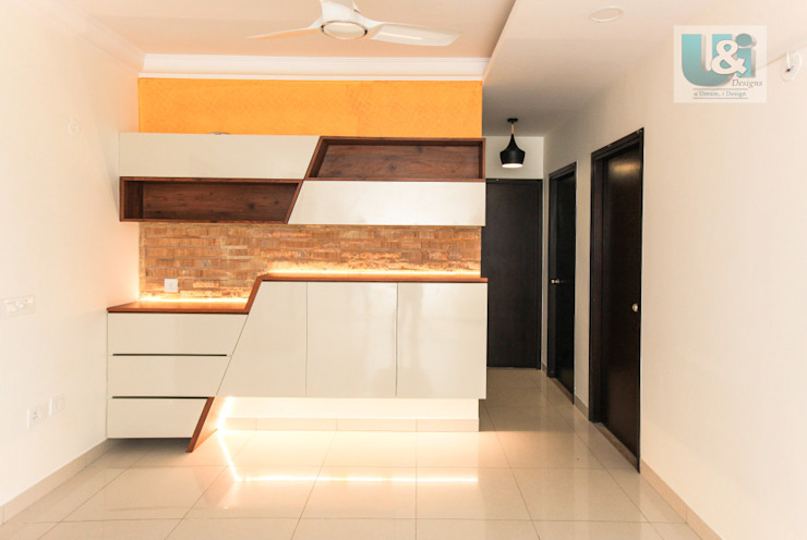 Crockery Unit with Stone Cladding & Profile Light Modern dining room by U and I Designs Modern
