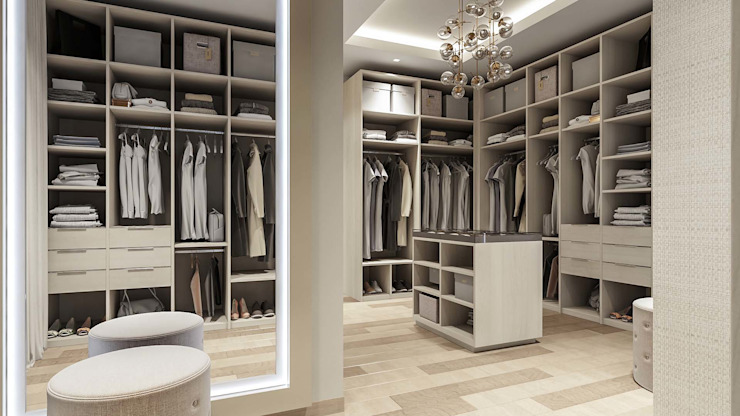 Walk in wardrobe Modern style bedroom by De Panache Modern