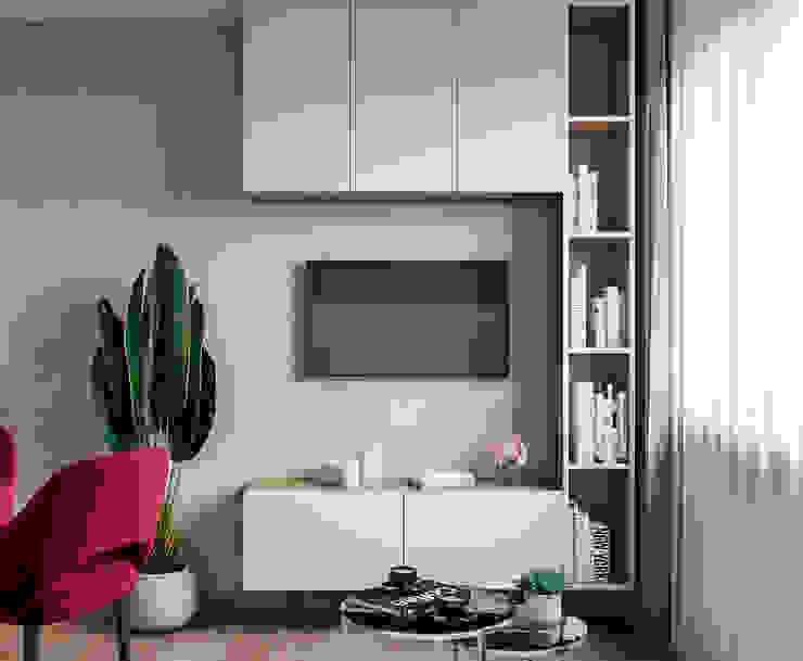 Дизайн - проект однокомнатной квартиры в г. Москве Гостиная в стиле минимализм от CUBE INTERIOR Минимализм