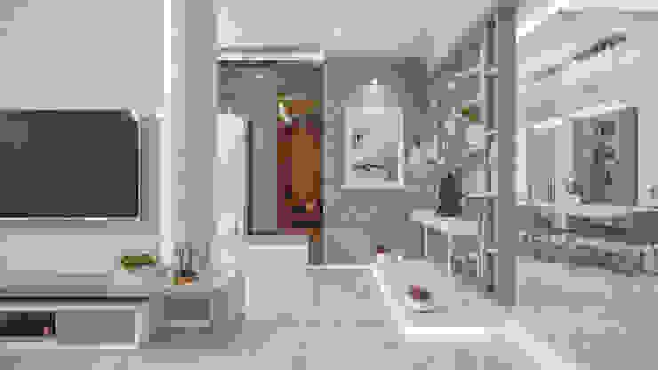 Foyer Modern corridor, hallway & stairs by De Panache Modern