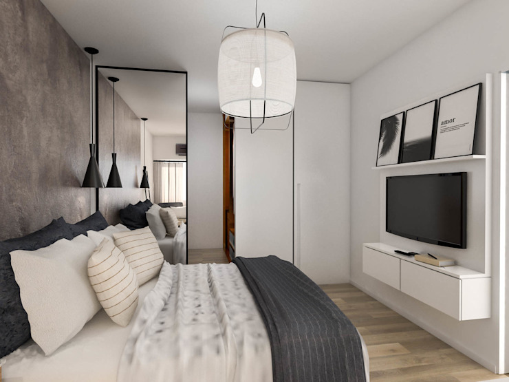 Scandinavian style bedroom by Bhavana Scandinavian Engineered Wood Transparent