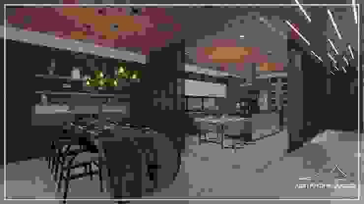 Sala de jantar e cozinha por Juan Jurado Arquitetura & Engenharia