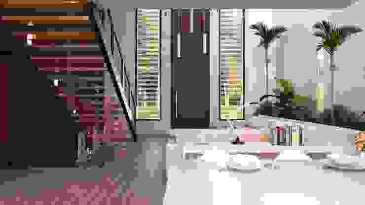 現代風玄關、走廊與階梯 根據 AR216 現代風
