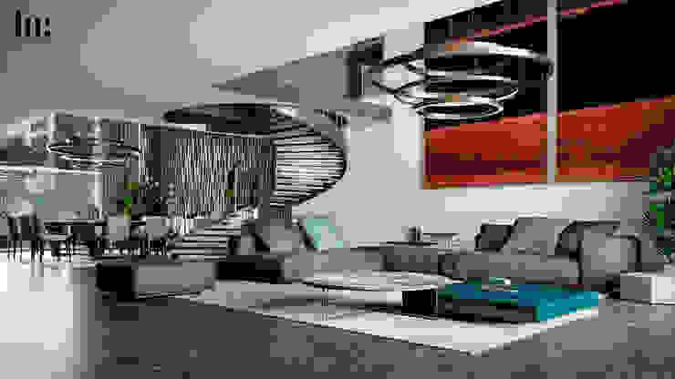 Sala y escaleras Salones minimalistas de HC Arquitecto Minimalista