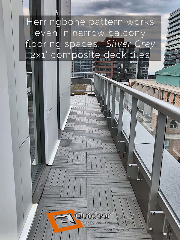Narrow walkway with WPC tiles in herringbone pattern Outdoor Floors Toronto Modern terrace Wood-Plastic Composite Grey
