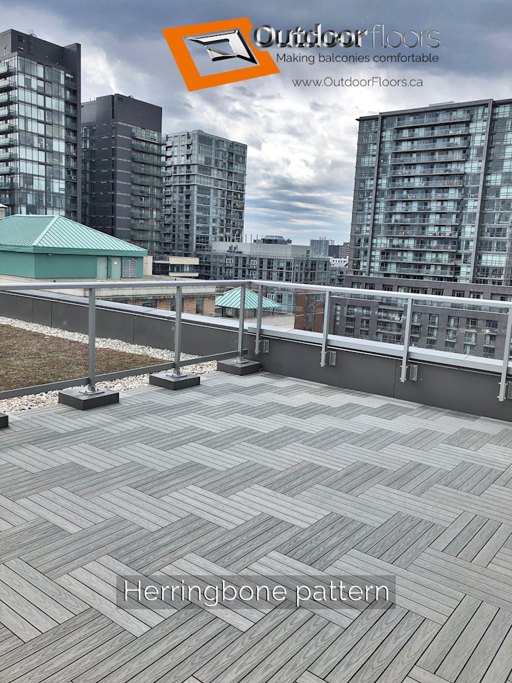 Herringbone pattern gives a zig-zag appearance on this large terrace Modern terrace by Outdoor Floors Toronto Modern Wood-Plastic Composite