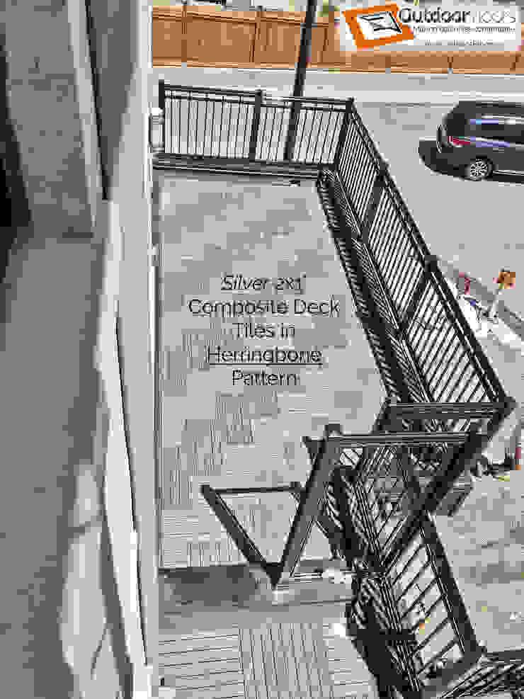Bird's eye view of another terrace showing the herringbone pattern Outdoor Floors Toronto Modern terrace Wood-Plastic Composite Grey