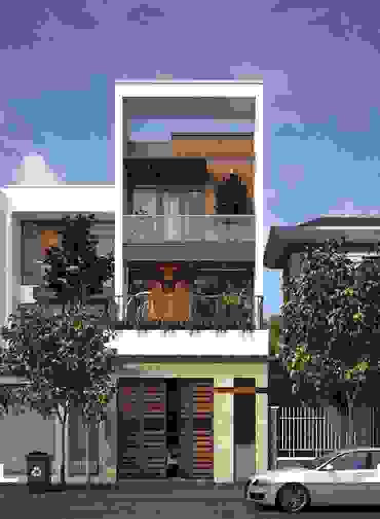 Mẫu thiết kế nhà có tầng hầm 5x20 bởi Thiết kế nhà đẹp ở Hồ Chí Minh