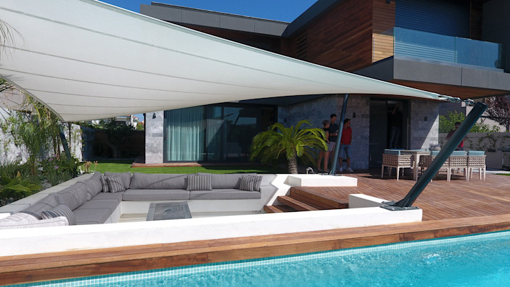 Villa Duo Modern Balkon, Veranda & Teras Başak Akkoyunlu Design Modern