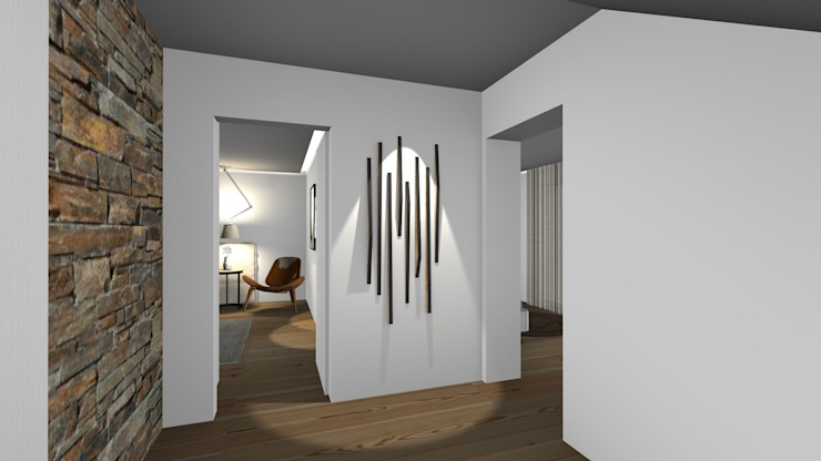 Country style corridor, hallway& stairs by Form Arquitetura e Design Country