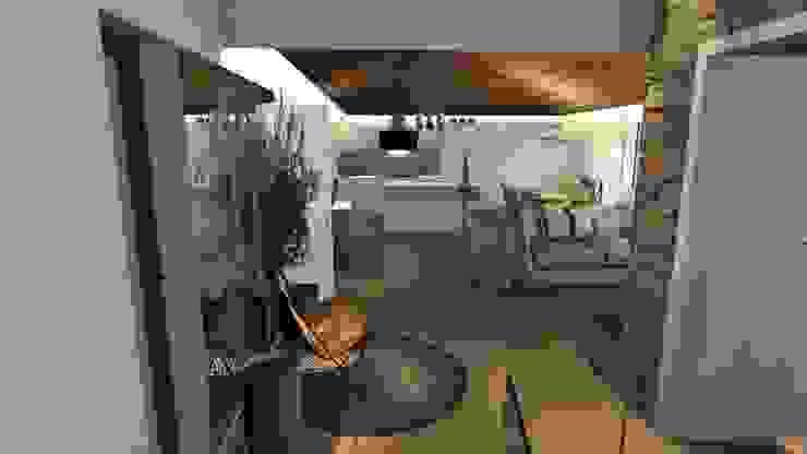 Vista do open space Salas de estar campestres por Form Arquitetura e Design Campestre