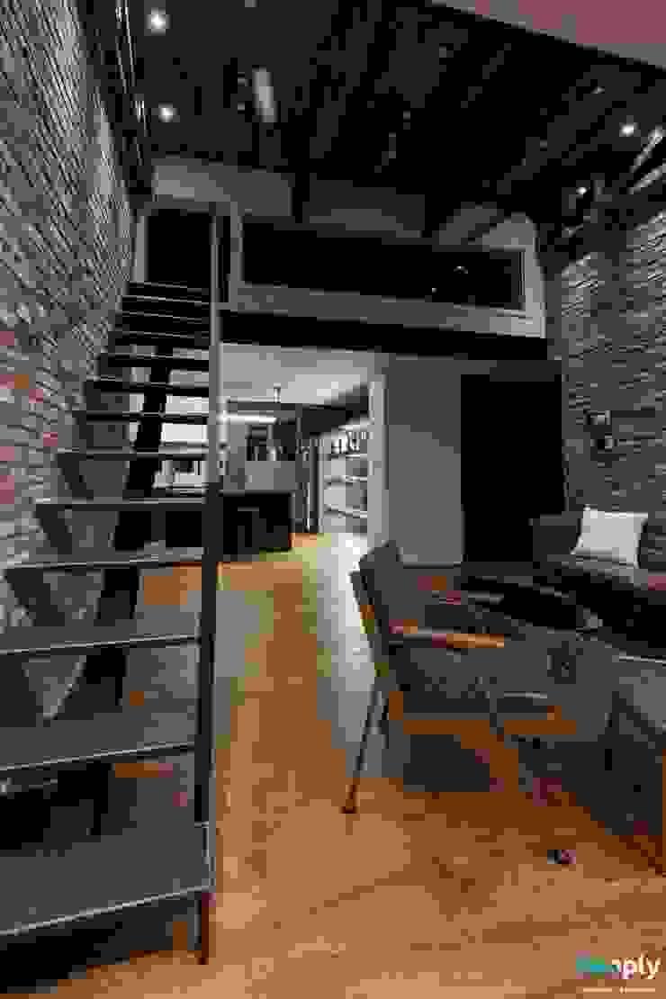 전주인테리어 우미린 탑층 아파트인테리어 , 인더스트리얼 by 디자인투플라이 인더스트리얼