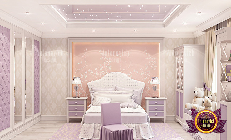 Lovely Princess Bedroom Design with Gorgeous Furniture by Luxury Antonovich Design