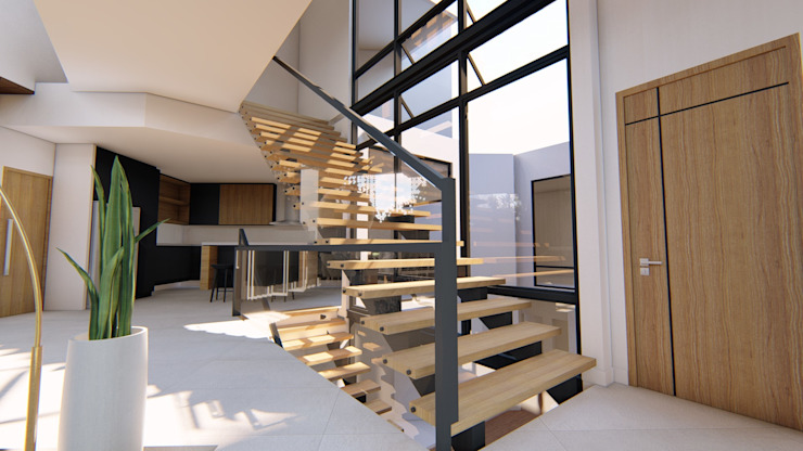 View of Main Stairs by Structura Architects Modern Wood Wood effect