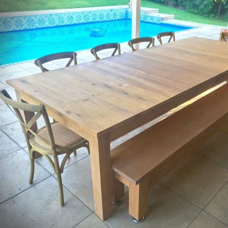 3m Oak Patio Table: rustic  by Jackal Tree, Rustic Wood Wood effect