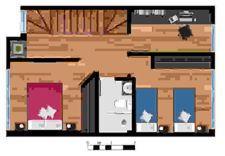Reserva el Lago Piso 2-2. Habitaciones modernas de PLASS Arquitectura & Construcción Moderno