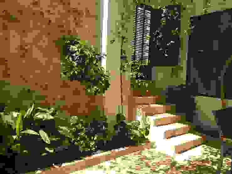 Reforma del patio-terraza central Gestionarq, arquitectos en Xàtiva Balcones y terrazas de estilo rústico Piedra Blanco