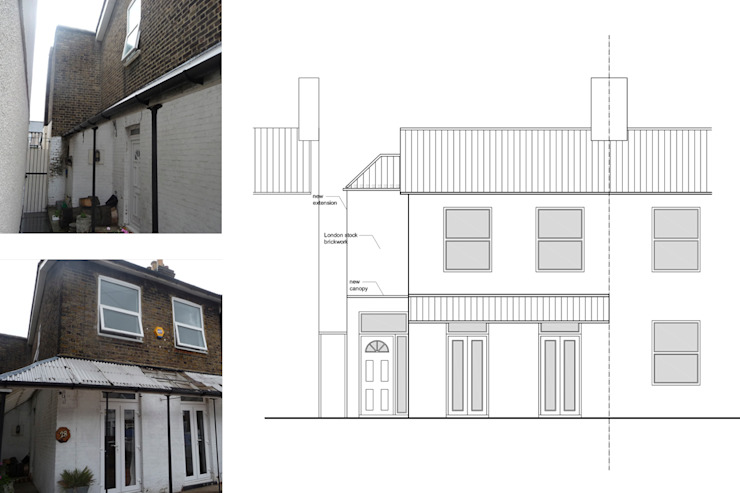 Architect designed house extension Maryland Newham E15 - Front Elevation GOAStudio | London residential architecture