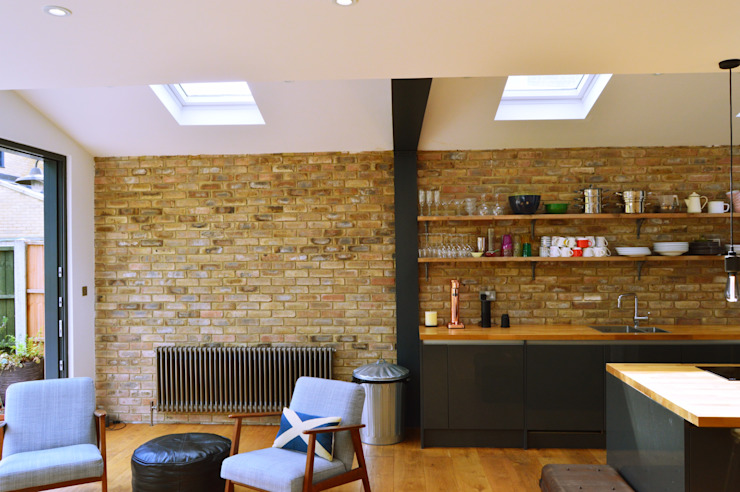 Architect designed house extension Maryland Newham E15 - Internal brick wall GOAStudio | London residential architecture Kitchen units