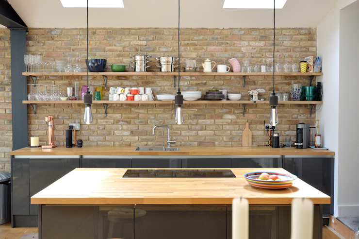 Architect designed house extension Maryland Newham E15 - Kitchen island area by GOAStudio | London residential architecture Modern