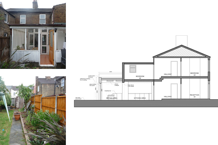 Architect designed house extension Maryland Newham E15 - Section AA GOAStudio | London residential architecture