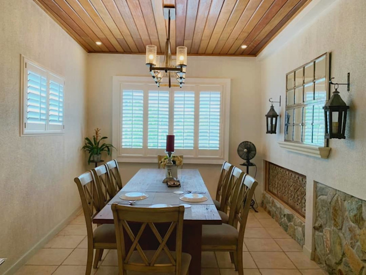 uPVC Plantation Window Shutters on Dining Room Country style dining room by LouverWise Inc Country