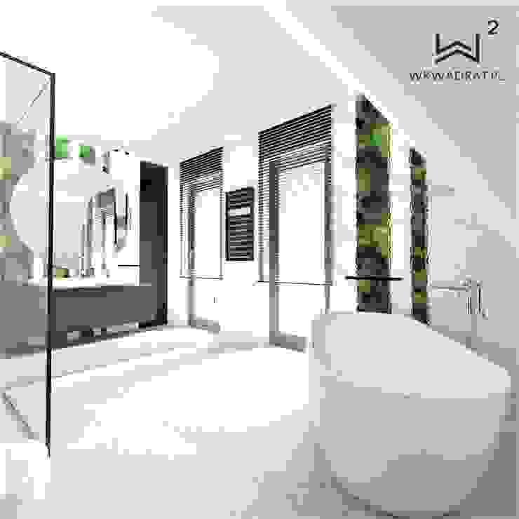 Łazienka na poddaszu Nowoczesna łazienka od Wkwadrat Architekt Wnętrz Toruń Nowoczesny Kamień