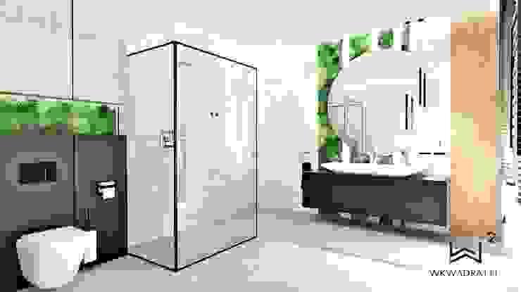 Łazienka na poddaszu Minimalistyczna łazienka od Wkwadrat Architekt Wnętrz Toruń Minimalistyczny Drewno O efekcie drewna