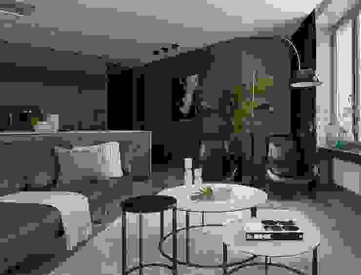 iPozdnyakov studio Ruang Keluarga Minimalis Grey