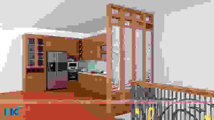 Mẫu tủ bếp gỗ tự nhiên rẻ, đẹp hiện đại tại Hà Nội bởi Nội thất Nguyễn Kim
