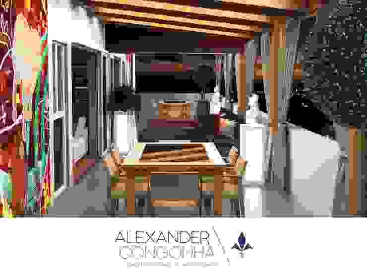 Terraza en Penthouse de San Borja Balcones y terrazas mediterráneos de Alexander Congonha Mediterráneo Madera Acabado en madera