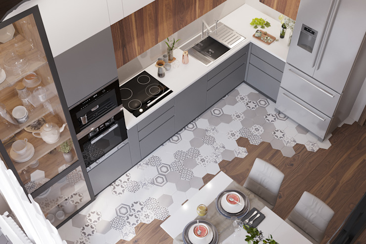 Built-in kitchens by 'INTSTYLE', Scandinavian Tiles