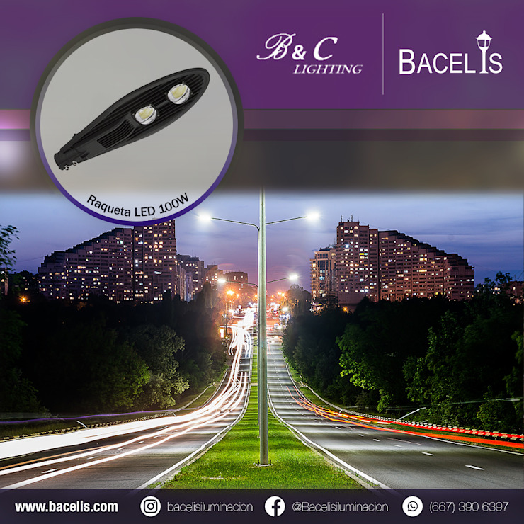 Raqueta LED 100w Bacelis iluminación Casas modernas Aluminio/Cinc Negro