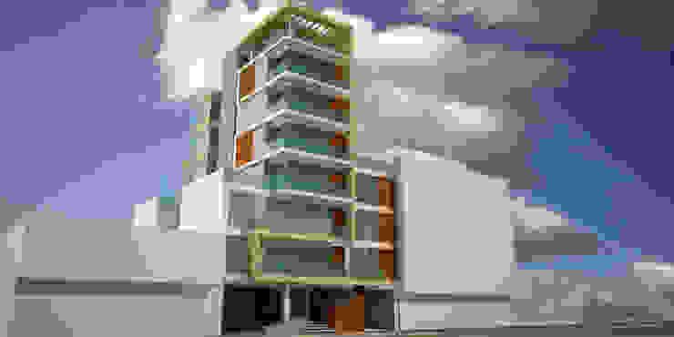 Perspectiva de fachada de acceso y lateral de Velasco Arquitectura Moderno Madera Acabado en madera