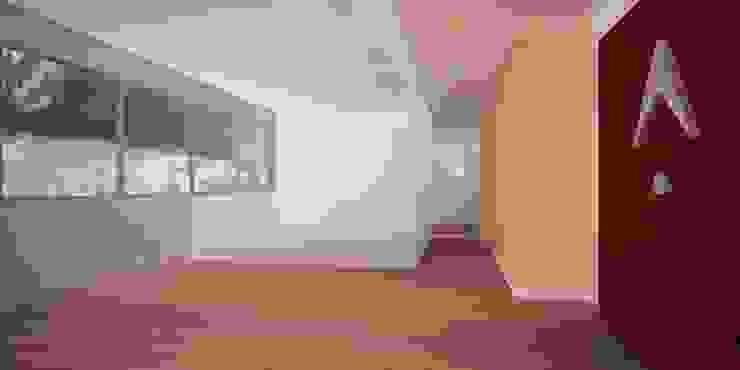 Pasillo hacia sala de juntas y oficina gerencial en vidrio templado de Velasco Arquitectura Moderno Madera Acabado en madera