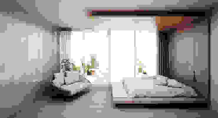 Dormitorio Doble con cama suspendida Dormitorios de estilo minimalista de S-AART Minimalista