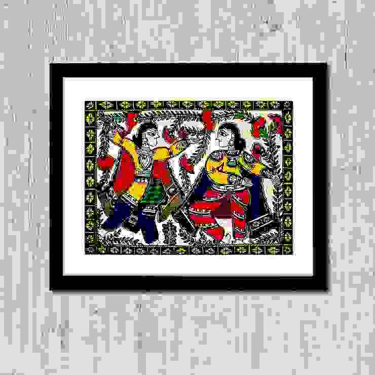 Madhubani Painting / Madhubani Women Art Painting: minimalist  by WallMantra,Minimalist
