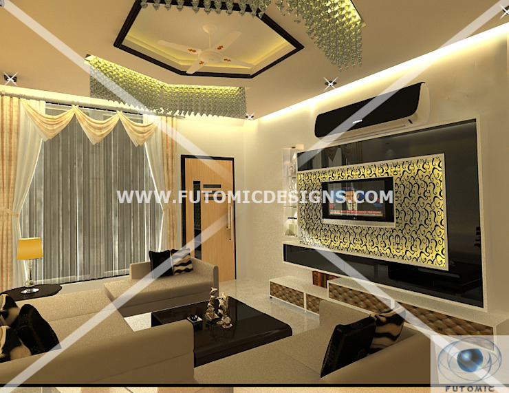 Fusion Themed Lounge By Futomic:  Living room by Futomic Design Services Pvt. Ltd.,Classic Wood Wood effect