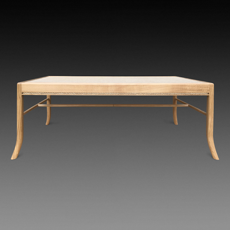 Lavenham coffee table - hessian and oak. Made to order by Perceval Designs Perceval Designs Living roomSide tables & trays