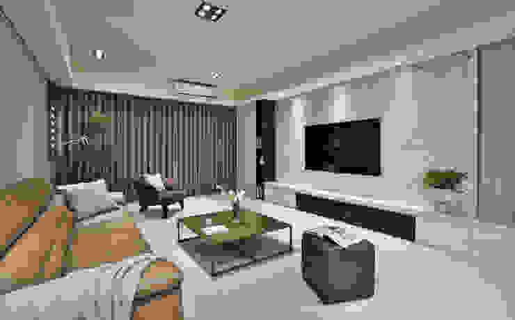 怡然慢活 现代客厅設計點子、靈感 & 圖片 根據 長寬高空間設計 現代風