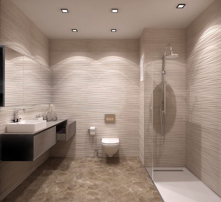 Baños de estilo moderno de ms mimarlık Moderno